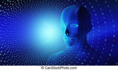 binário, cabeça, conceito, inteligência, wireframe, ilustração, cérebro, code., artificial, human, pretas, modelo, tecnologia, futurista, 3d