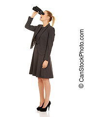 binocular, mulher, jovem, negócio