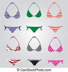 biquíni, eps10, cobrança, swimsuit
