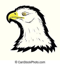bird., águia, cabeça, norte, tatuagem, símbolo, calvo, freedom., mascot., predador, stylized, americano, presa, logotipo, branca, falcão, design.