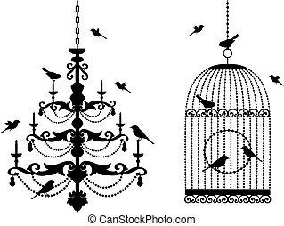birdcage, lustre, pássaros