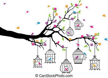 birdcages, árvore, pássaros