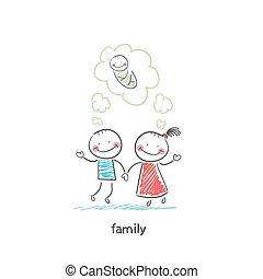 birth., esperando, illustration., família, feliz