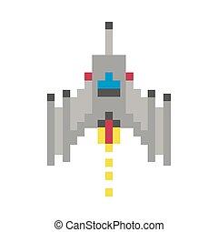 bits, ícone, pixelated, 8, navio, voando, espaço