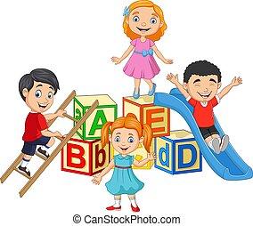 blocos, feliz, alfabeto, caricatura, crianças