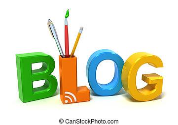 blog, palavra, colorido, letras