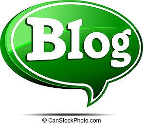 blog, verde, borbulho fala