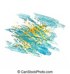 blotch, vetorial, aquarela, isolado, malha, azul, amarela