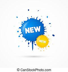 blots, azul, título, ícones, venda, amarela, vetorial, novo