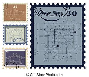 blueprint, casa, stamped., vetorial