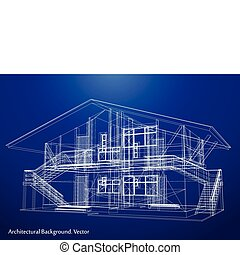 blueprint, vetorial, house., arquitetura