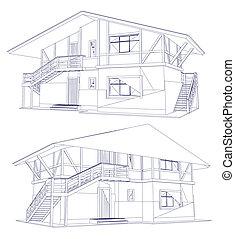blueprint, vetorial, house., dois, arquitetura