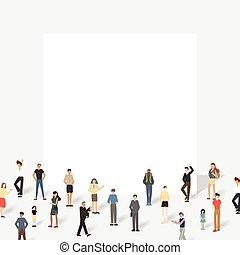 board., grande, grupo, pessoas