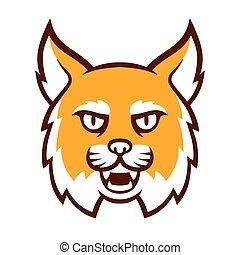 bobcat, zangado, cabeça, mascote