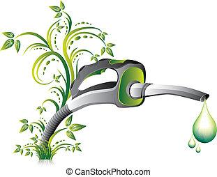 bocal, bomba, verde, combustível