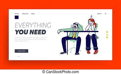bocejar, ou, energia, cansadas, enfadonho, procrastinação, template., pessoas, caráteres, página, aborrecido, aterragem, negócio, excesso trabalho, sintomas, linear, ilustração, baixo, vetorial, preguiçoso, trabalhando, burnout, lugar, meeting.