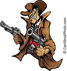 boiadeiro, caricatura, apontar, armas, mascote