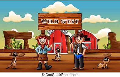 boiadeiro, fazenda, oeste, meerkats, selvagem, caricatura