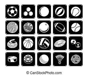 bola, ícones, cobrança, fundo, branca, desporto