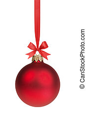 bola, arco, vermelho, penduradas, natal, fita