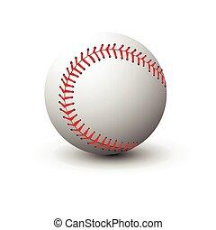 bola branca, basebol, isolado, fundo