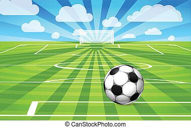 bola futebol, campo, jogo, capim, mentindo