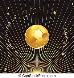 bola futebol, ouro, ilustração