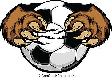 bola, garras urso, futebol, vetorial
