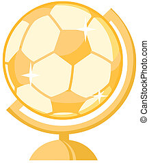 bola, globo, ouro, futebol, escrivaninha