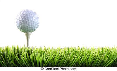 bola golfe, capim, tee