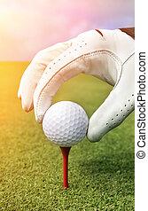 bola, golfe, colocar, tee