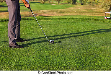 bola, golfe, foco, seletivo, golfer, pôr
