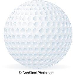 bola, golfe, isolado, branca