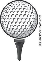 bola, golfe, isolado, vetorial, fundo, branca
