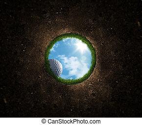 bola, golfe, queda
