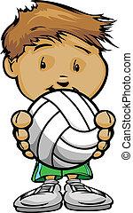 bola, ilustração, vetorial, voleibol, segurando, sorrindo, caricatura, criança