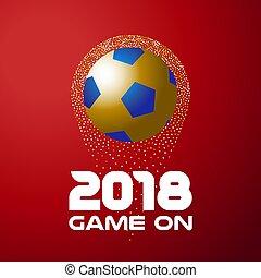 bola, ouro, citação, 2018, fundo, futebol, vermelho