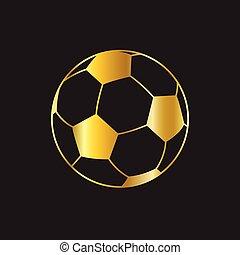 bola, ouro, vetorial, experiência preta, futebol, ícone