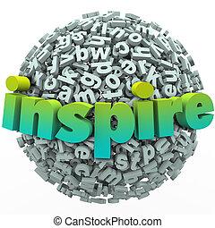 bola, palavra, inspire, motivational, esfera, letra, educação, 3d