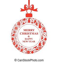bola, saudação, cartão natal, vermelho