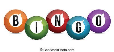 bolas, coloured brightly, bingo