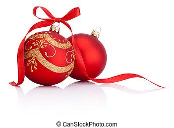 bolas, isolado, arco, decoração, dois, fundo, christmas branco, fita, vermelho
