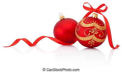 bolas, isolado, arco, decoração, dois, w, natal, fita, vermelho