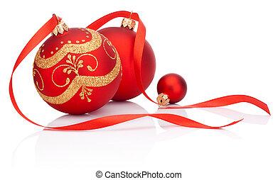 bolas, isolado, arco, decoração, fita, fundo, christmas branco, vermelho