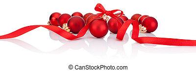 bolas, isolado, arco, fita, fundo, christmas branco, vermelho