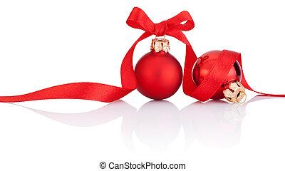 bolas, isolado, fita, arco, dois, fundo, christmas branco, vermelho