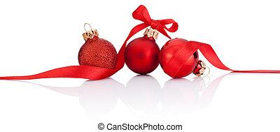 bolas, isolado, fita, arco, três, fundo, christmas branco, vermelho