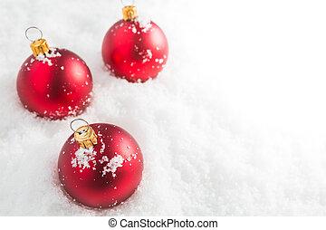 bolas, natal, vermelho, neve
