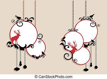 bolas, vetorial, natal