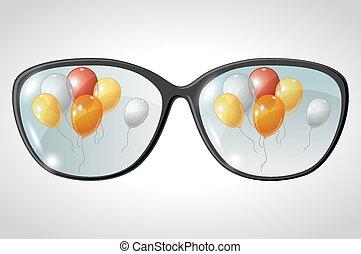 bolas, vetorial, refletido, ilustração, óculos